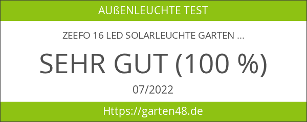 ZEEFO 16 LED Solarleuchte Garten